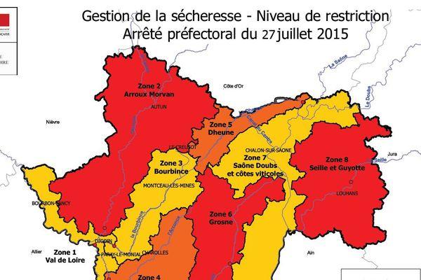 Carte de la sécheresse en Saône et Loire au 27 juillet 2015