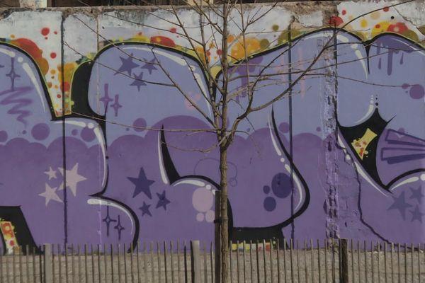 Le graffiti est visible dans le parc urbain de la Rodia.