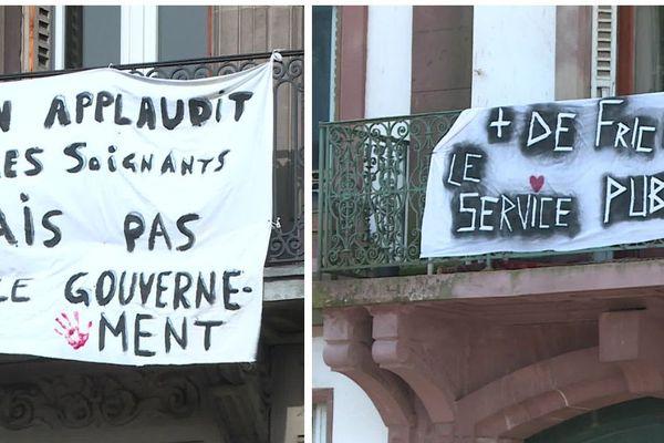Sur les balcons alsaciens, ce ne sont pas les géraniums qui fleurissent allègrement mais bien les pancartes de protestation, un 1er mai inédit
