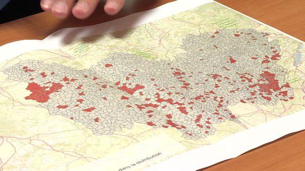 La carte, non-exhaustive, établie par les équipes de Gilles Platret des difficultés rencontrées dans la distribution des profession de foi en Bourgogne-Franche-Comté.