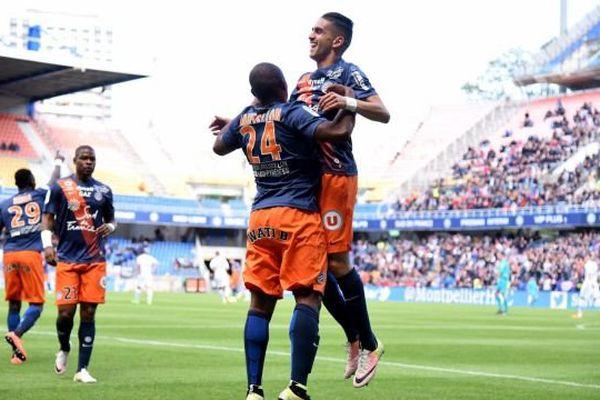 La joie des footballeurs monptellierains qui viennent de battre Troyes 4 à 1 et faire un grand pas vers le maintien en L1