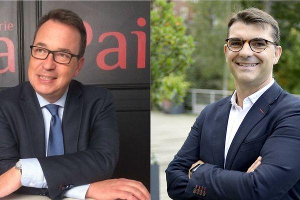 Pierre Breteau, candidat Modem à la présidence de Rennes métropole, et Charles Compagnon, candidat du centre droit aux municipales à Rennes.