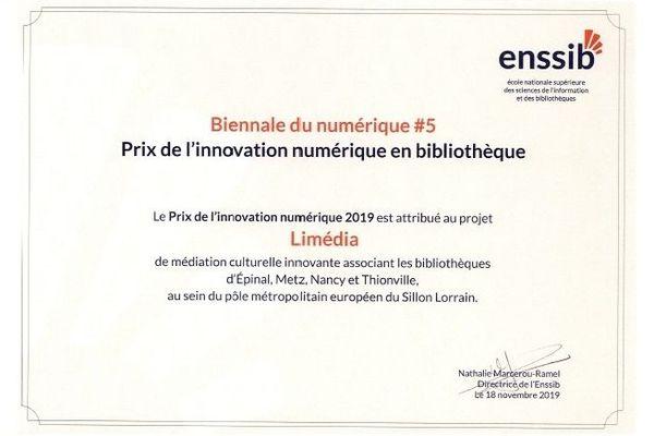 Ce prix de l'ENSSIB de l'innovation  numérique en bibliothèque est une fierté pour les acteurs de limedia.fr