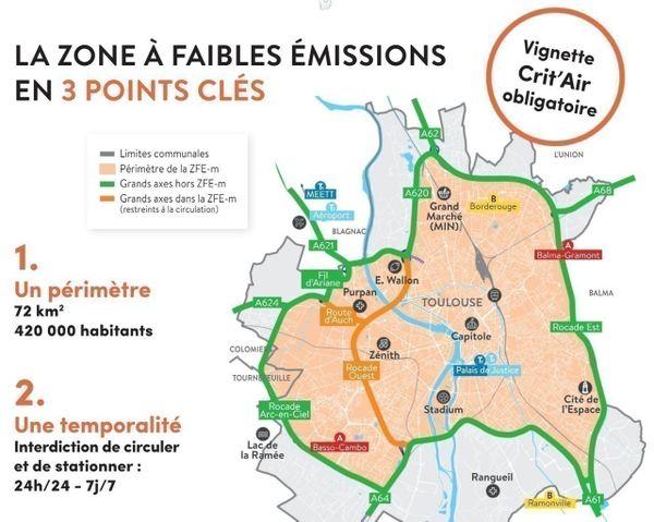 Le périmètre de la future ZFE de la métropole de Toulouse.