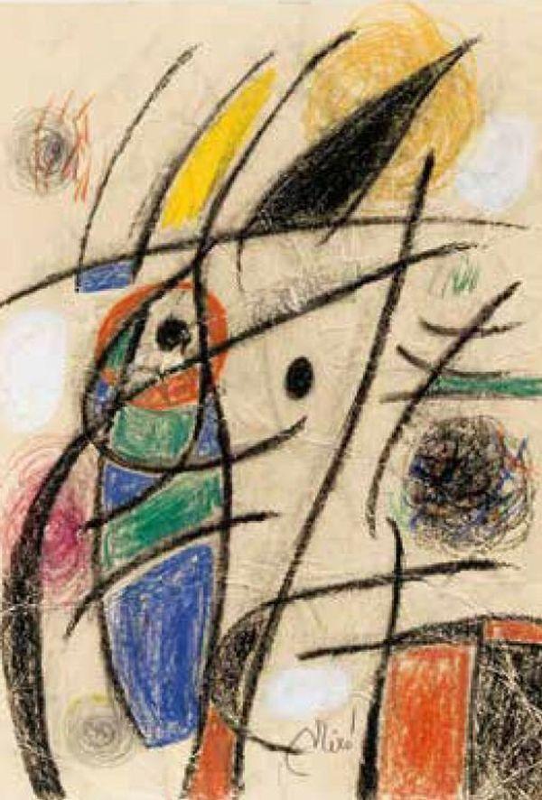 Joan Miró, Personnage, oiseaux (1976 /Fusain, pastel et craie sur carton fissuré 35,2 x 24,5 cm)