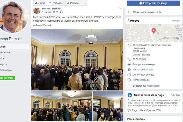 Post facebook de Menton Demain de Olivier Bettati en date du 31 janvier