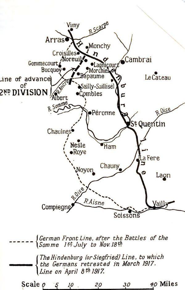 Le repli stratégique des Allemands en 1917 vers la ligne Hindenburg.