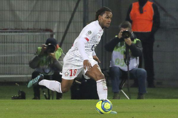 Illustration/ Le portugais Renato Sanches, sous le maillot de Lille. Il dénonce des propos racistes lors de la rencontre GFCA-LOSC du 7 mars 2021.