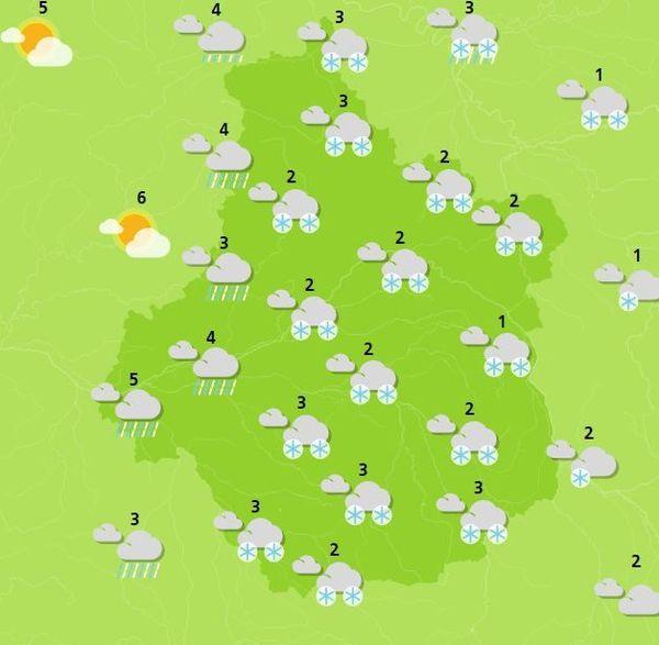 Prévisions des températures en Centre-Val de Loire entre 10h et 13h ce mardi 22 janvier 2019.