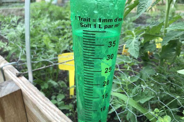 Ce pluviomètre installé dans un potager à Poitiers s'est rempli durant la nuit orageuse du mercredi au jeudi 17 juin.