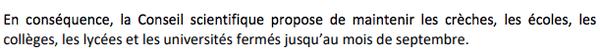 Extrait de l'avis du Conseil scientifique Covid-19 du 24 avril 2020.
