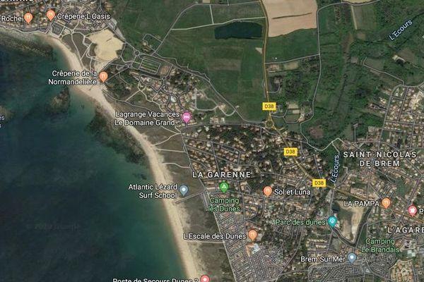 La plage de la Normandelière vue depuis un satellite.