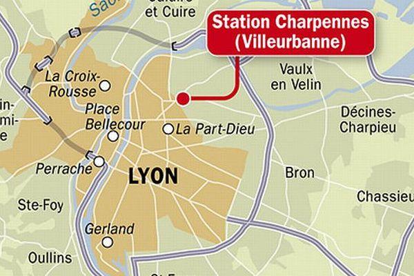 Localisation de la station de métro Charpennes à Villeurbanne- Archives