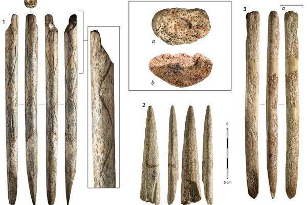 Exemples d'objets fabriqués en os de baleine retrouvés dans les collections archéologiques du nord de l'Espagne.