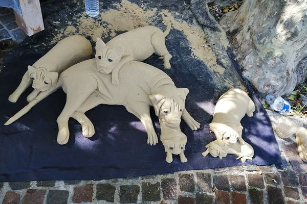 Le jeune homme compose des chiens avec du sable dans les rues d'Antibes.