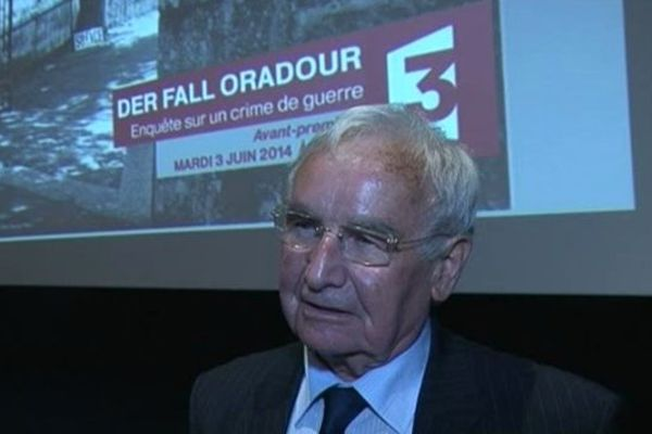 "Robert Hebras, survivant du massacre d'Oradour, lors de la projection du film d'Ute Casper ""Der Fall Oradour""- Paris, 3 juin 2014"