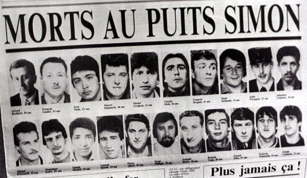 Les victimes de la catastrophe du 25 février 1985, lors du coup de grisou au Puits Simon à Forbach (Moselle)