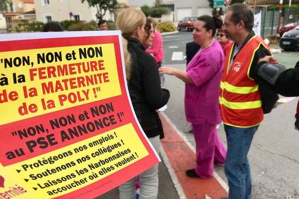 A Narbonne, c'est la fermeture annoncée de la maternité de la Poly qui est contestée ce mercredi.