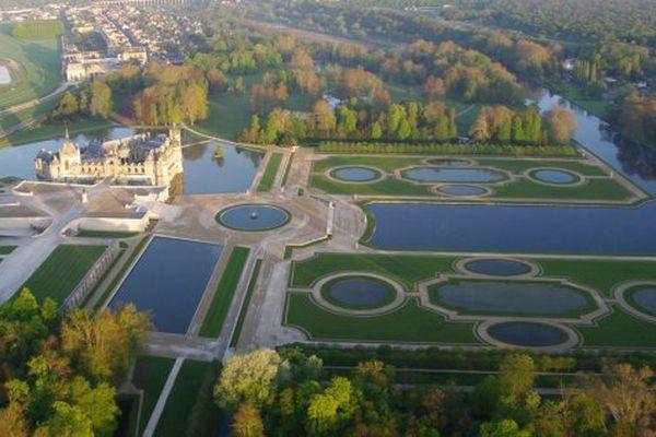 Les jardins de Chantilly, vue aérienne