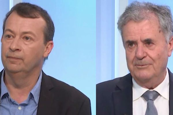 """Joseph Galletti (à droite sur l'image), maire de Lucciana depuis 25 ans, est tête de liste de """"Inseme pè Lucciana"""". Face à lui, un seul candidat : Jean-Philippe Antolini (à gauche sur l'image), tête de liste de """"Pè Lucciana, Per a Corsica""""."""