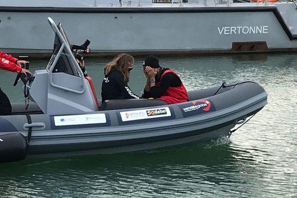 Jérémie Beyou à son retour au port, le samedi 14 novembre 2020