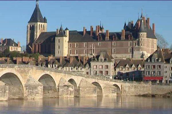 Vue de la ville de Gien et de son Château
