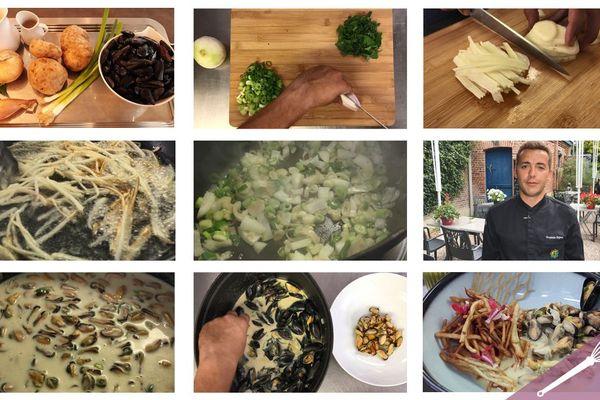 Les étapes de la recette des moules-frites revisitées