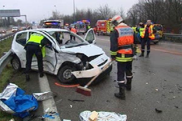 Photo de l'accident sur l'A20 lundi 4 février 2013