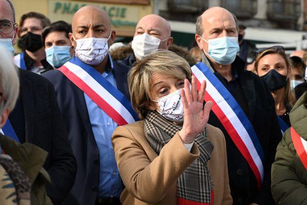 Brigitte Barèges le 13 février 2021 à Montauban (Tarn-et-Garonne), lors d'une manifestation de soutien après sa première condamnation.