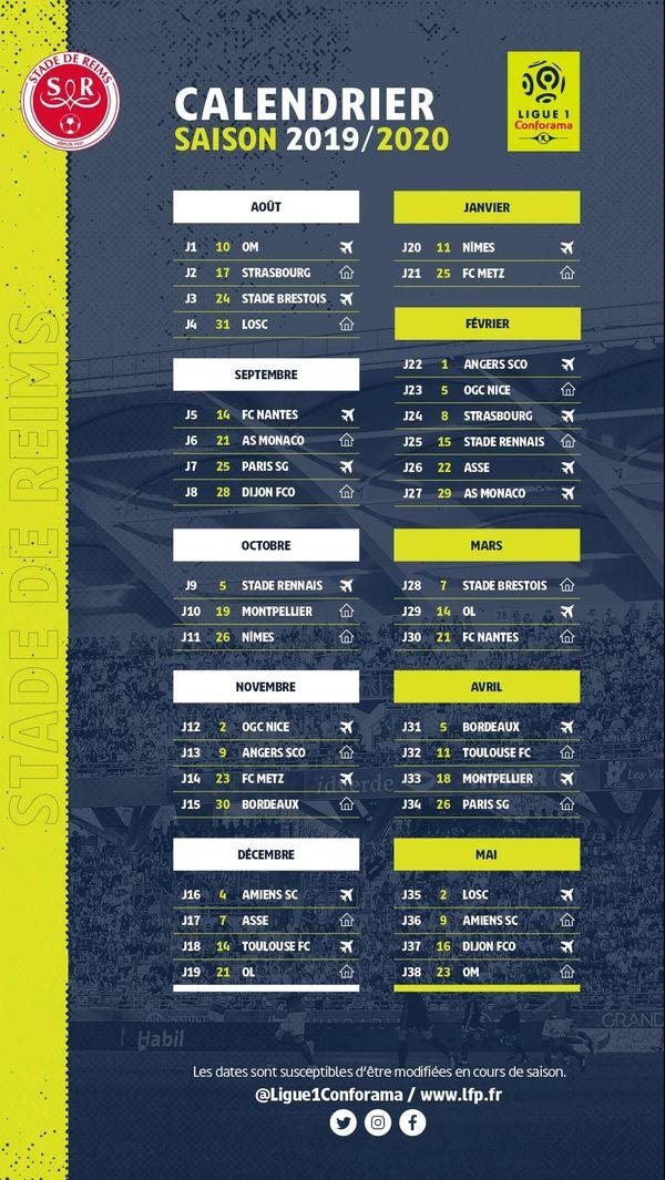 Le calendrier de la saison 2019-2020 pour le Stade de Reims.