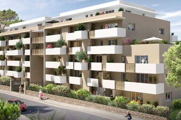 La maquette de la résidence qui doit être construite, d'ici 2022, rue de Jausserand à Montpellier.