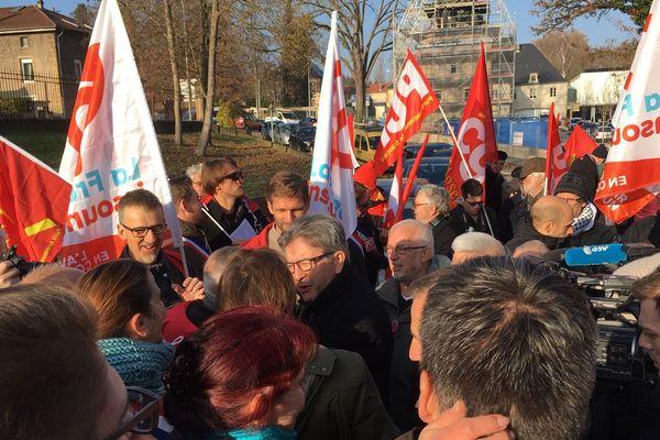 Jean-Luc Mélenchon à la marche pour l'acier d'Hayange le vendredi 23 novembre 2018.