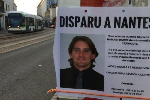De nombreux avis de recherche avaient été placardés dans le centre-ville de Nantes après la disparition de Romain Barré fin septembre 2016.
