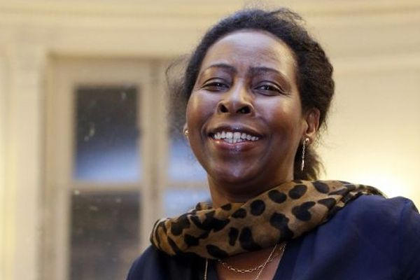 Scholastique Mukasonga, lors de la remise du Prix Renaudot, en novembre 2012