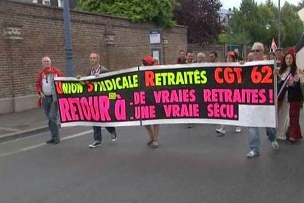 Manifestation des retraités à Arras ce mardi.