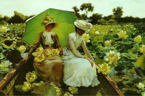 Nénuphars (Lotus Lilies) de Charles Courtney Curran - huile sur toile (1888)  Terra Foundation for American Art, Daniel J. Terra Collection / Chicago (Illinois), États-Unis.