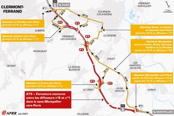 La nuit du mercredi 16 juin, l'A75 est fermée au sud de Clermont-Ferrand.