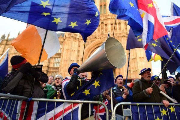 """Les supporters """"anti-Brexit"""" au pied de Westminster à London."""