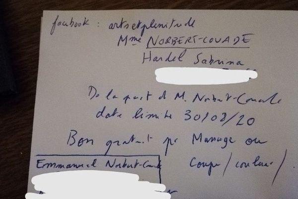 Le bon qui aurait été remis à Coralie par le candidat du RN, Emmanuel Norbert-Couade.