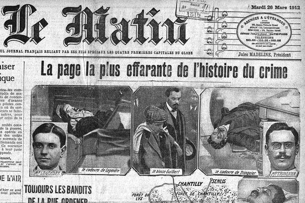 Les événements du 25 mars 1912 sont retracés en Une du Matin au lendemain de l'attaque.