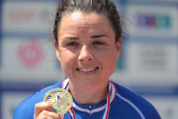 Audrey Cordon Ragot (Team Trek - Segafredo) lors du contre la montre femme du championnat de France Elite, a Epinal le 17 juin 2021.