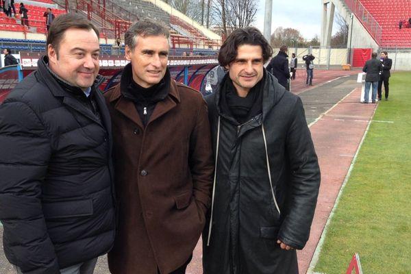 Les dirigeants du DFCO (Olivier Delcourt, Olivier Dall'Oglio et Sébastien Pérez) peuvent toujours espérer monter en Ligue 1.