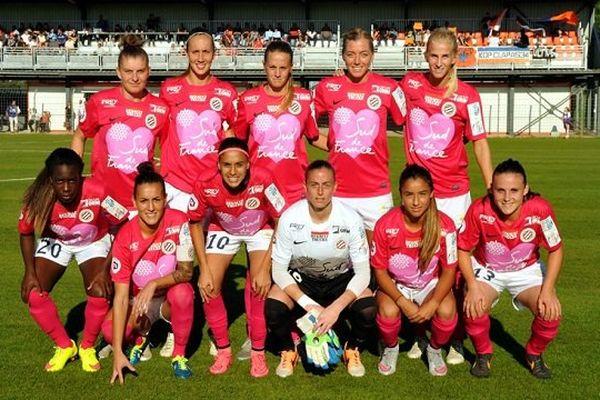 """L'équipe féminine du MHSC en rose pour """"Octobre Rose"""" afin de sensibiliser les femmes au dépistage du cancer du sein - octobre 2015"""