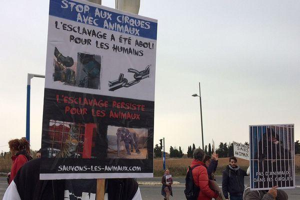 """Sensibilisation contre """"L'esclavage animalier"""" à la sortie du cirque Bouglione, à Montpellier."""