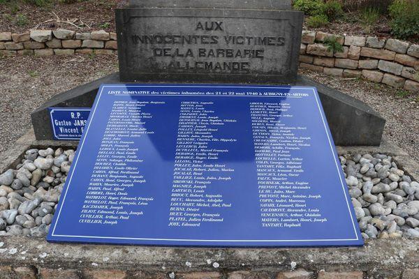 La liste des victimes du massacre du 22 mai 1940 à Aubigny-en-Artois.