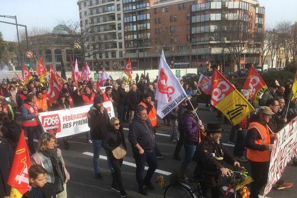 Plus de 3000 personnes dans les rues de Perpignan ce vendredi 24 janvier pour dire non à la réforme des retraites.