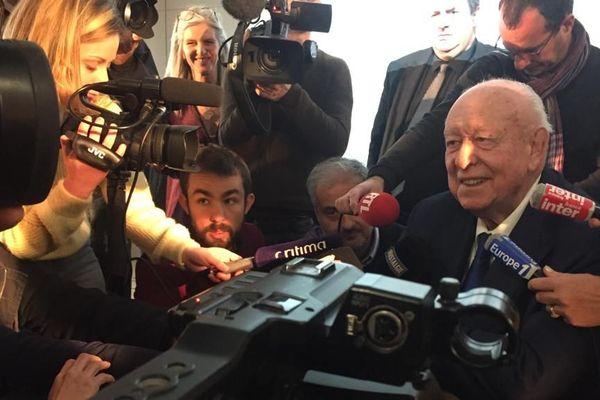 Jean-Claude Gaudin lors de ses derniers voeux à la presse en tant que maire de Marseille.
