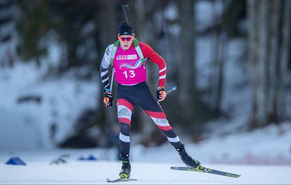 Lukas Haslinger, l'Autrichien, sur le 12,5 km homme, lors des Jeux Olympiques de la jeunesse aux Tuffes, dans le Haut-Jura.