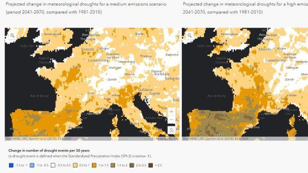 Projection de l'évolution de la fréquence des sécheresses météorologiques pour deux scénarios d'émissions.