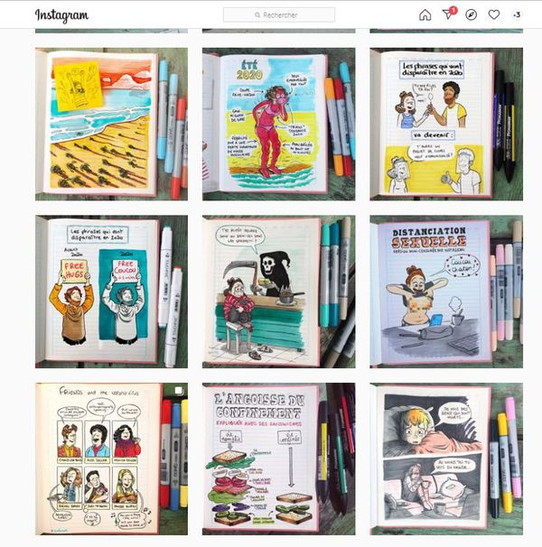 Sophie Lambda : Le Monde au balcon, carnet dessiné d'un printemps confiné de Sophie Lambda. Un livre parti des dessins publiés sur Instagram